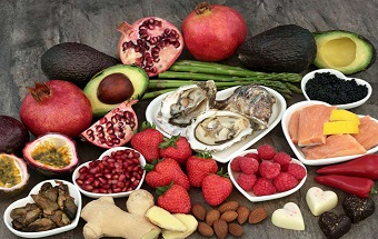 Large aphrodisiac food selection for good sexual health over mar